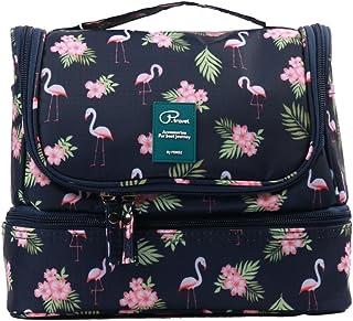 Neceser para Colgar para Mujer Bolsas de Aseo Grande de Viaje Impermeable Organizador Accesorios de Baño con Asas para Negocios Viajes Vacaciones - Flamingo