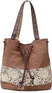 JIAN YA NA Cotton Canvas Retro Shoulder Tote Bag Fashion Casual Style Lady Handbag With Mori Girl Paiting Series Dual-use Bag Messenger Hobo Satchel Bag Design For Women Girls Students