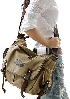 Digital baby Big Vintage Canvas Messenger Bag Book Laptop Shoulder School Ladys Women Men New (Large, Beige)