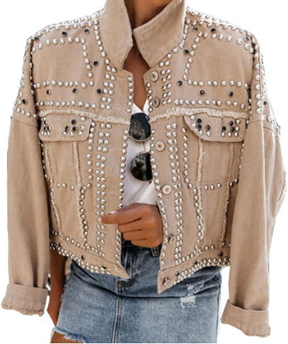 Omoone Women's Long Sleeve Rivet Studded Denim Jacket Casual Washed Pearl Short Jean Coat