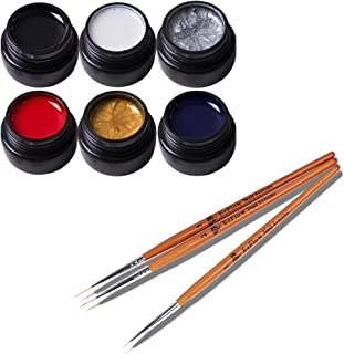 Frenshion 6Pcs Kit Set 8ML Classic DIY 3D Gel Nail Designs Painted Gel Nail Polish, Painting Drawing UV Led Gel Liner Polish Pen Tool,Pull Line Pen for Nail Art Salon+3Pcs Gel Liner Pen