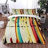 ETDWA Set copripiumino, Set di lenzuola stampate con tavola da Surf retrò, Set copripiumino in Microfibra 135 x 200 cm con 2 federa 50 x 80 cm