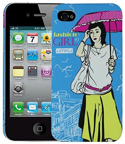 Heartly Cute Girl Printed Design Hybrid Tough Armor Hard Bumper Back Case Cover for Apple iPhone 4 4S 4G - Dark Blue
