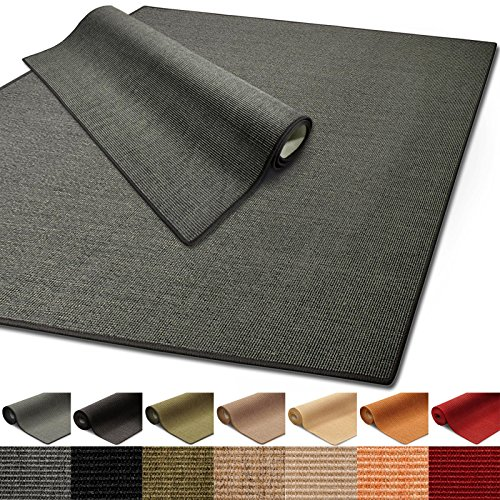 Floordirekt 100% reines Sisal | Sisalteppich vielen Größen (Grau, 66 x 130 cm)