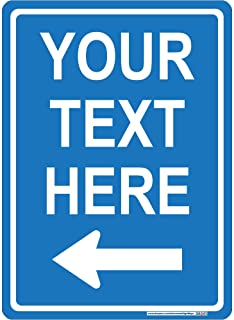 Customizable Left Arrow Sign, 3M Reflective Sheeting, Highest Gauge Aluminum,Laminated, UV Protected, Made in U.S.A (White & Light Blue/Non-Reflective / 10