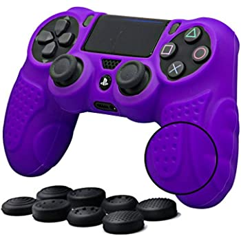 CHINFAI PS4 Controller DualShock4 Skin Grip Anti-Slip Silicone Cover Protector Case for Sony PS4/PS4 Slim/PS4 Pro Controller with 8 Thumb Grips (Purple)