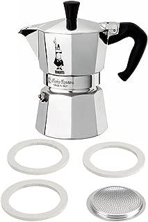 2 Item Bundle- Bialetti Moka Express, Silver, 3 Cup