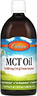 Carlson - MCT Oil, 14000 mg (14 g) MCTs, from Coconut, Caprylic & Capric Acids, Energy Production, Fat Metabolism, 1000 mL...