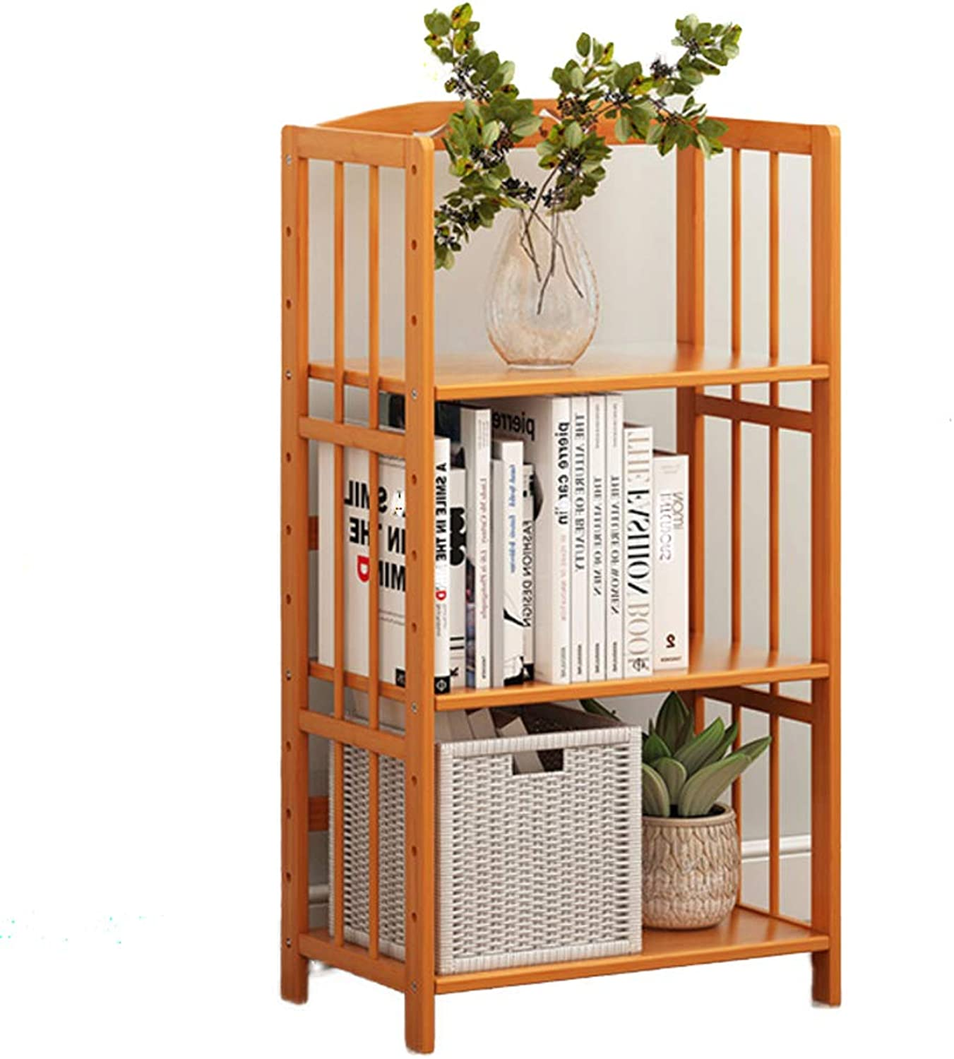 Multifunctional Bamboo Bookshelf, 2-6 Tier Thickened Storage Organizer Compact Modern Floor-Standing Storage Organizer for Home or Office -B 50x25x96cm(20x10x38)