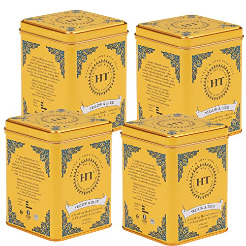 Harney & Sons Yellow and Blue, Chamomile and Lavender, 80 Count, Pack Of 4