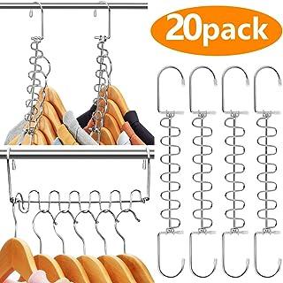 AMKUFO 20 Pack Space Saving Hangers Magic Hangers Metal Clothes Hangers Organizer Cascading Hangers Gain 80% More Space