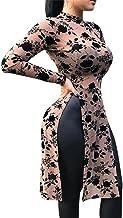 JXG Women Long Sleeve Side Split Longline Loose Fit Floral Dress Tops