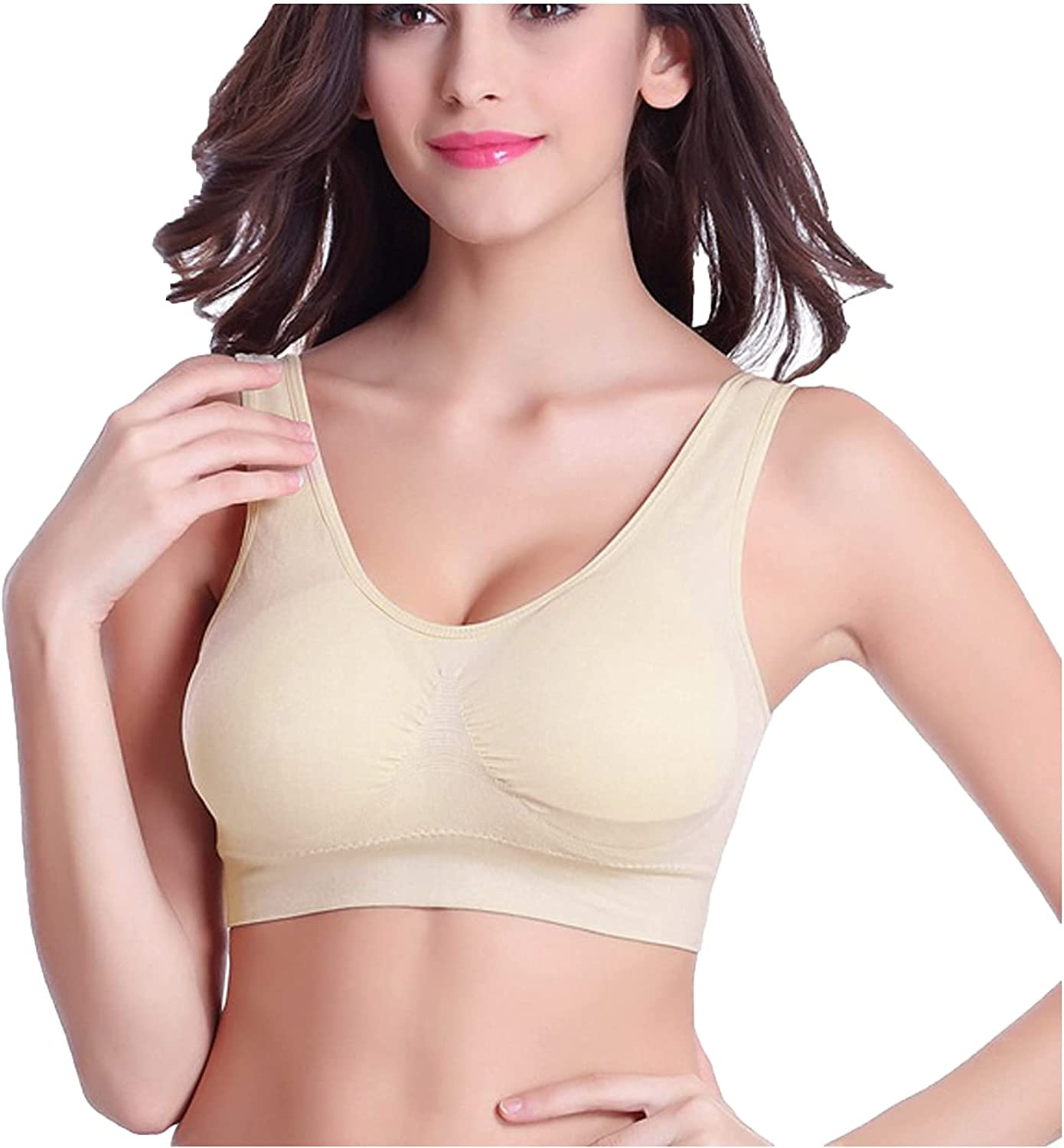 Sinzelimin 3-Pack Sport Bra for Womens Underwear Seamless Full Cup Push Up Sports Bra Wirefree Yoga Bra with Removable Pads