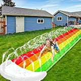 iGeeKid 14Ft Lawn Water Slide Rainbow Silp Slide with Spraying and Inflatable Crash Pad for Children...
