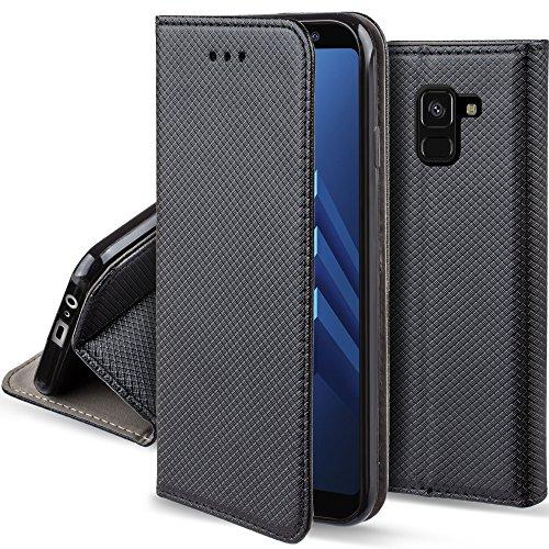 Moozy Cover per Samsung A8 2018, Nero - Custodia a Libro Flip Smart Magnetica con Appoggio e Porta Carte