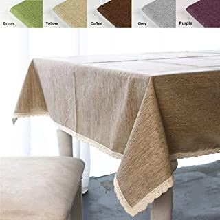 ColorBird Solid Cotton Linen Tablecloth Water Resistant Macrame Lace Table Cover for Kitchen Dinning Tabletop Decoration (Rectangle/Oblong, 55
