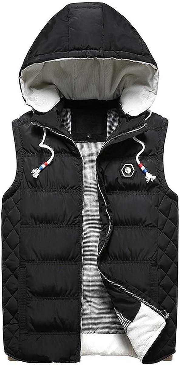 Beuniclo Men's Puffer Vest Active Gilet Padded Vest Men Sleeveless Jacket Removable Hooded Winter Outwear Jacket
