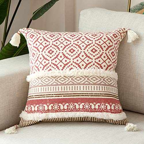 blue page Boho Tufted Decorative Throw Pillow Covers for Couch Sofa - Modern Moroccan Style Pillow Cases with Tassels, Accent Decor Pillow for Bedroom Living Room Car, 18x18 Inches, Pink