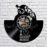 wtnhz LED-Me Encanta la música gorilas Escuchando música Auriculares decoración de Arte Reloj de Pared Disco de Vinilo Retro Reloj de Pared decoración del hogar