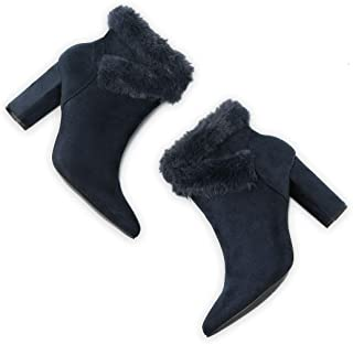 Allegra K Women's Faux Fur Pointed Toe Chunky Heel Ankle Boots