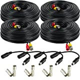 Amcrest 4-Pack 150 Feet Pre-Made All-in-One Siamese BNC Video and Power CCTV Security Camera Cable with Two Female Connectors for 960H & HD-CVI Camera and DVR (SCABLEHD150B-4pack)