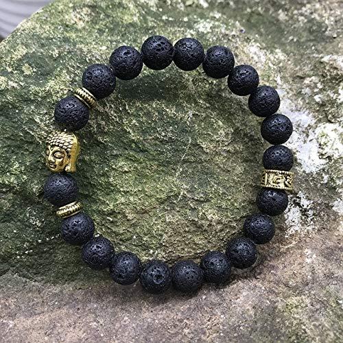 LEIGAGA Nieuwe 8mm Natuurlijke Groene Agaat Kralen Armband Gouden Boeddha Hoofd Zes Woorden Bedel Lava Steen Armband Yoga Heren Sieraden