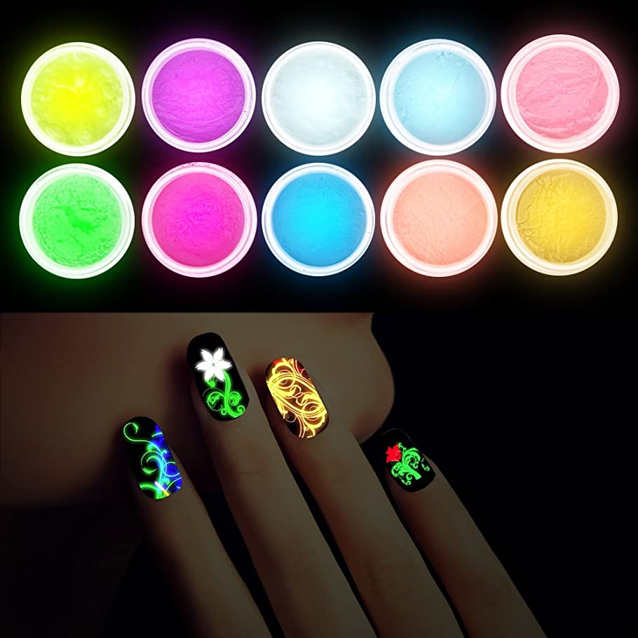 前部舗装アクティビティNat 10Pcs/set Luminous Nail Powder UV Gel Polish Glow In The Dark Glitter Fluorescent Nail Tip Decoration Salon Nail Tools