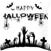 Weilov Halloween fantôme sorcière Citrouille Housse de Coussin crâne Oreiller Cas Decor Halloween Noir et Blanc sorcière C...