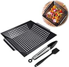 Linsam Grill Basket, Non-Stick BBQ Grill Portable Grill Accessories Set Grilling Pan with Cooking Tongs and Basting Brush for Barbecue Veggies, Seafood, Meats (Black)