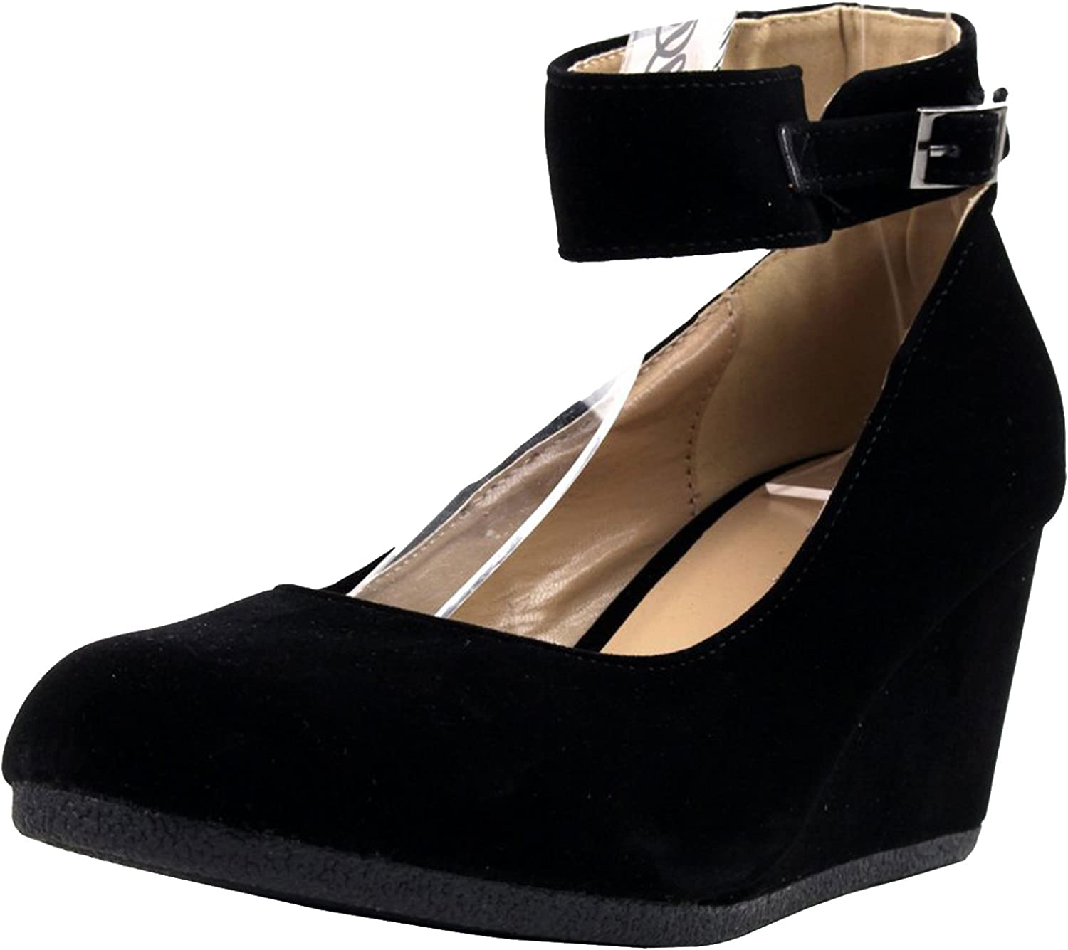 Forever Link Women's Patricia-03 Ankle Strap Faux Suede Wedge Pumps,Black Suede,7.5