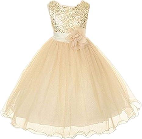 formale damigella donore per festa di nozze Live It Style It con paillettes e fiore Abito da principessa senza maniche