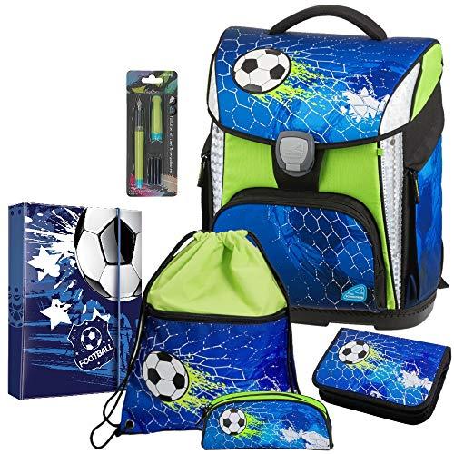Soccer Champ- Fußball Football - Schneiders LED-TOOLBAG Plus 78324-074 mit LED-LEUCHTSYSTEM Schulranzen-Set 6tlg. - FÜLLER GRATIS