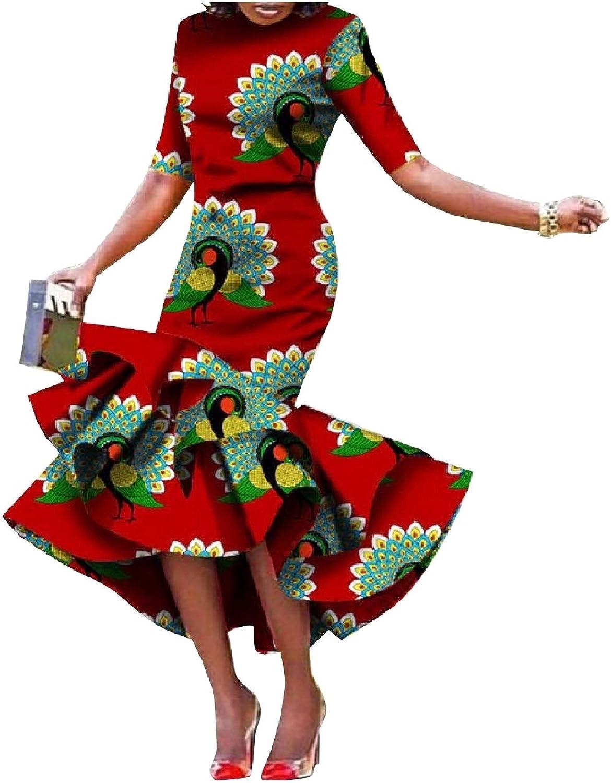 Zimase Women Dashiki Ruffle Long Plus Size African Wax Fabric Dresses