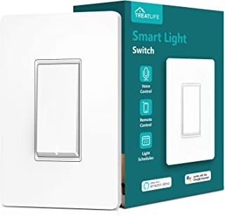 Treatlife Smart Light Switch, Neutral Wire Needed, 2.4Ghz Wi-Fi Light Switch, Works with Alexa and Google Assistant, Schedule, Remote Control, Single Pole, ETL Listed (1 PACK)