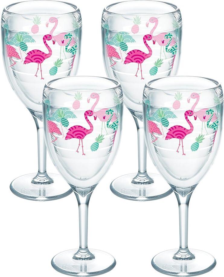 植物の不忠一口Tervis 1243023フラミンゴパターンタンブラーラップ4パック9ozワイングラス、クリア