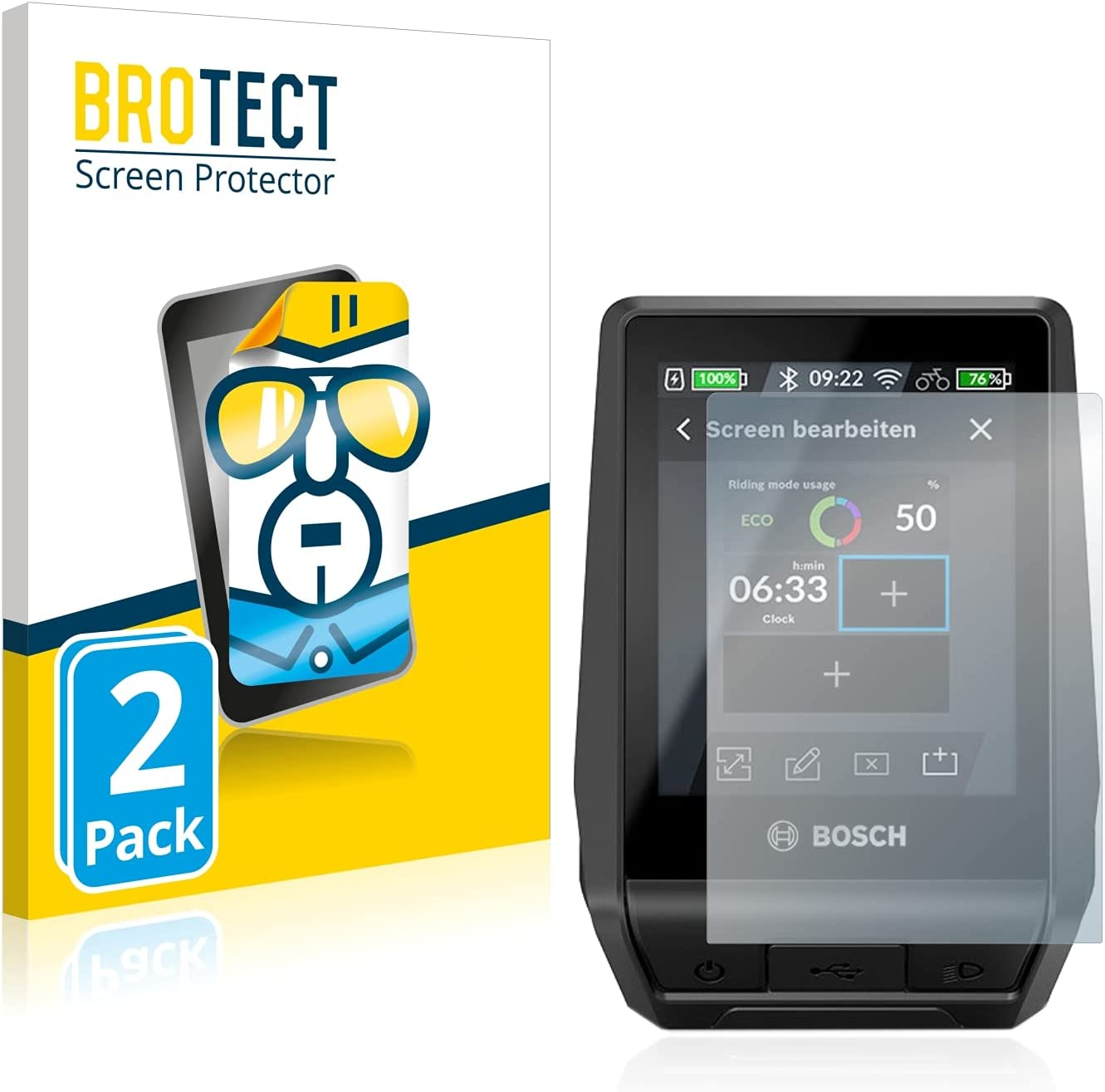 BROTECT Protector Pantalla Compatible con Bosch Nyon 2020 Protector Transparente (2 Unidades) Anti-Huellas