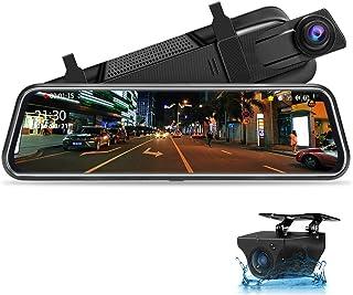 Jansite Spiegel Dashcam 10'' Touch Screen Full HD 1080P, Autokamera Rückfahrkamera mit 10 Meter Kabel, 1080P FHD 170° Weitwinkel Nachtsicht Weitwinkel mit Loop Aufnahme und G Sensor