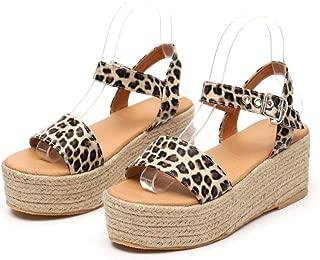 Espadrilles Sandals for Summer, Womens Espadrille Platform Sandals Open Toe Ankle Strap Sandals Flats Wedges Sandal