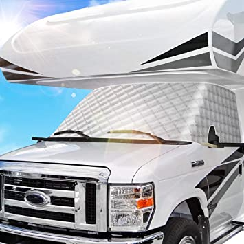 BougeRV RV Windshield Window Snow Cover for Class C Ford E450 1997-2022 Motorhome Windshield Cover Snow Cover for RV Front Window Sunshade Cover RV Accessories 4 Layers with Mirror Cutouts Silver: image