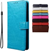 BRAND SET Case for Infinix Note 7 Lite/Infinix Hot 9 Case Wallet Style Faux Leather flip Case with Secure Magnetic Closure Lock and Bracket Function Suitable for Infinix Hot 9/Note 7 Lite(Blue)