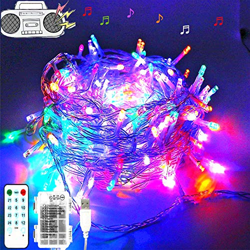 Cadena de luces LED para árbol de Navidad, tira musical 100 LED electrica y con pilas, LED cortina de luces 10m, 12 modos, luces para fiestas, bodas, halloween, decoración(luces de colores)