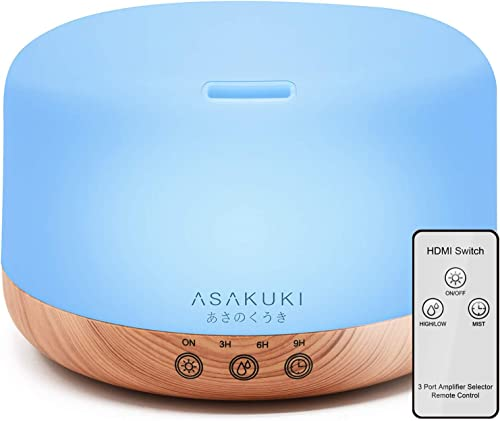 ASAKUKI Essential Oil Diffuser with Remote Control, 1000ml Cool Mist Humidifier, Large 1 Liter Vaporizer with Touch S...