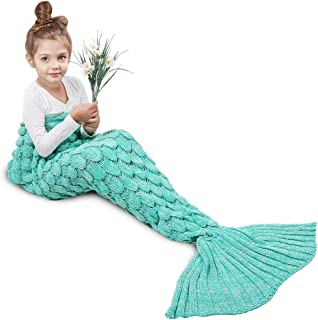 AmyHomie Mermaid Tail Blanket, Mermaid Blanket Adult Mermaid Tail Blanket, Crotchet Kids Mermaid Tail Blanket for Girls (Scalegreen, Kids)
