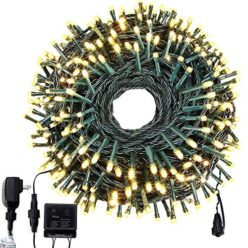 ROYAMY Outdoor Christmas String Lights 300 LED 105ft , IP55 Waterproof UL Certificated Suitable Outdoor Indoor Fairy Lights Halloween Garden Patio Wedding Trees Parties Decoration Warm White