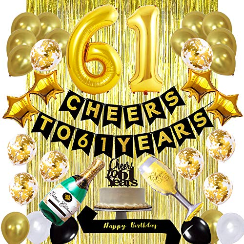 Gold 61st Birthday Decorations Kit, Cheers to 61 Years Banner Balloons 61st Cake Topper Birthday Sash Gold Tinsel Foil Fringe Curtains for 61 Birthday&Anniversary Decorations