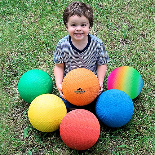 Premium Playground Balls 8.5 inch, Best Kickball Dodgeball for Kids and Adults - Official Size for Dodge Ball, Handball, Square Game, Camps, Picnic, Church & School + Free Pump & Mesh Bag (Pack of 24)