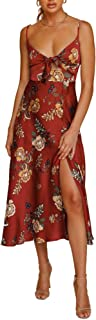 FASHIONMIA Spaghetti Strap Satin Midi Wrap Dress Split/Cotton Babydoll Backless Maxi Dress Cocktail Wedding 2 Styles