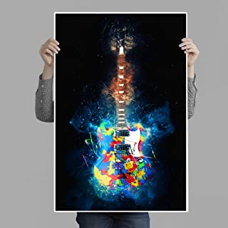 Best Music Stuff Colorful Guitar Explosion Poster Print