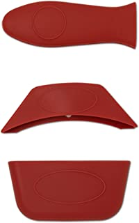 3-Pack Silicone Pot Handle Covers – Silicone Pan Handle Cover, Lid Handle Cover & Side Handle Cover | Best Heat Resistant Silicone Handle Cover (Pot Holder) by Breve Home Goods (Red)