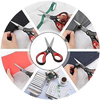 """LIVINGO 2 Pack 8"""" Titanium Non-Stick Scissors, Professional Stainless Steel Comfort Soft Grip, All-Purpose, Straight ..."""